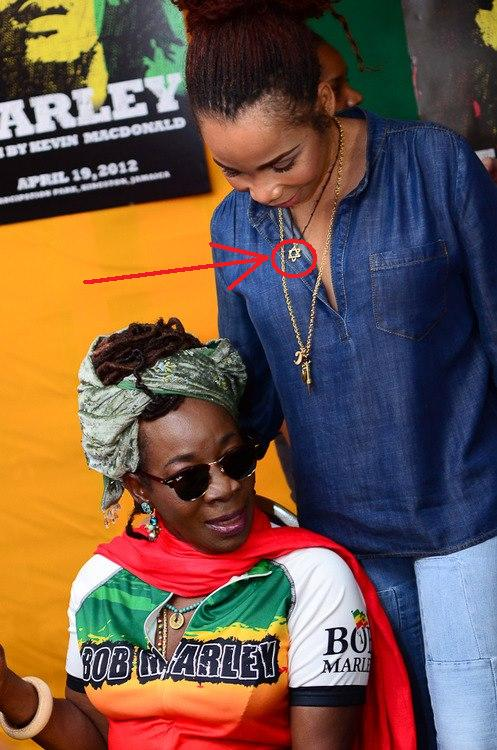 Bob & Rita Marley's beautiful daughter; Cedella Marley wearing what is known as the Star of David.