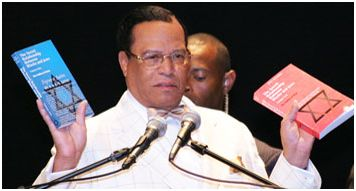 "Min. Louis Farrakhan with (Nation of Islam's) literary work; ""The Secret Relationship Between Blacks & Jews Vol. 1 & 2"""
