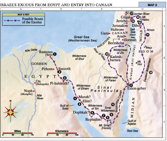 israel exodus out of egypt map