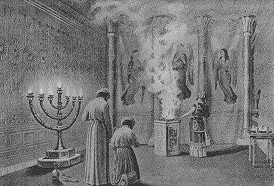 """""""The Shekinah Glory Enters the Tabernacle""""; illustration from The Bible and Its Story Taught by One Thousand Picture Lessons; Charles F. Horne and Julius A. Bewer (Ed.), 1908"""