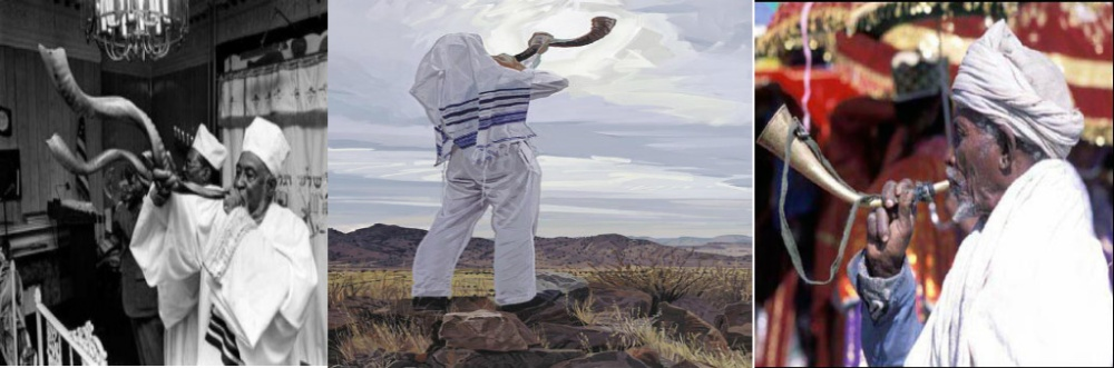 Blowing of the Shofar_ from L-R (Rabbi Wentworth A. Matthew & priests of the Commandments Keepers, painting of the blowing of the Shofar, An Ethiopian Qes[priest] during TimQet)
