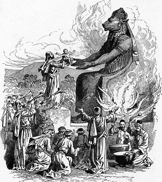 Offering to Molech (illustration from the 1897 Bible Pictures by Charles Foster)
