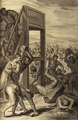 """The Blasphemer Stoned"" _(illustration from the 1728 Figures de la Bible)"