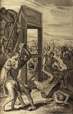"""The Blasphemer Stoned"" _(illustration from the 1728 Figures de la Bible)"