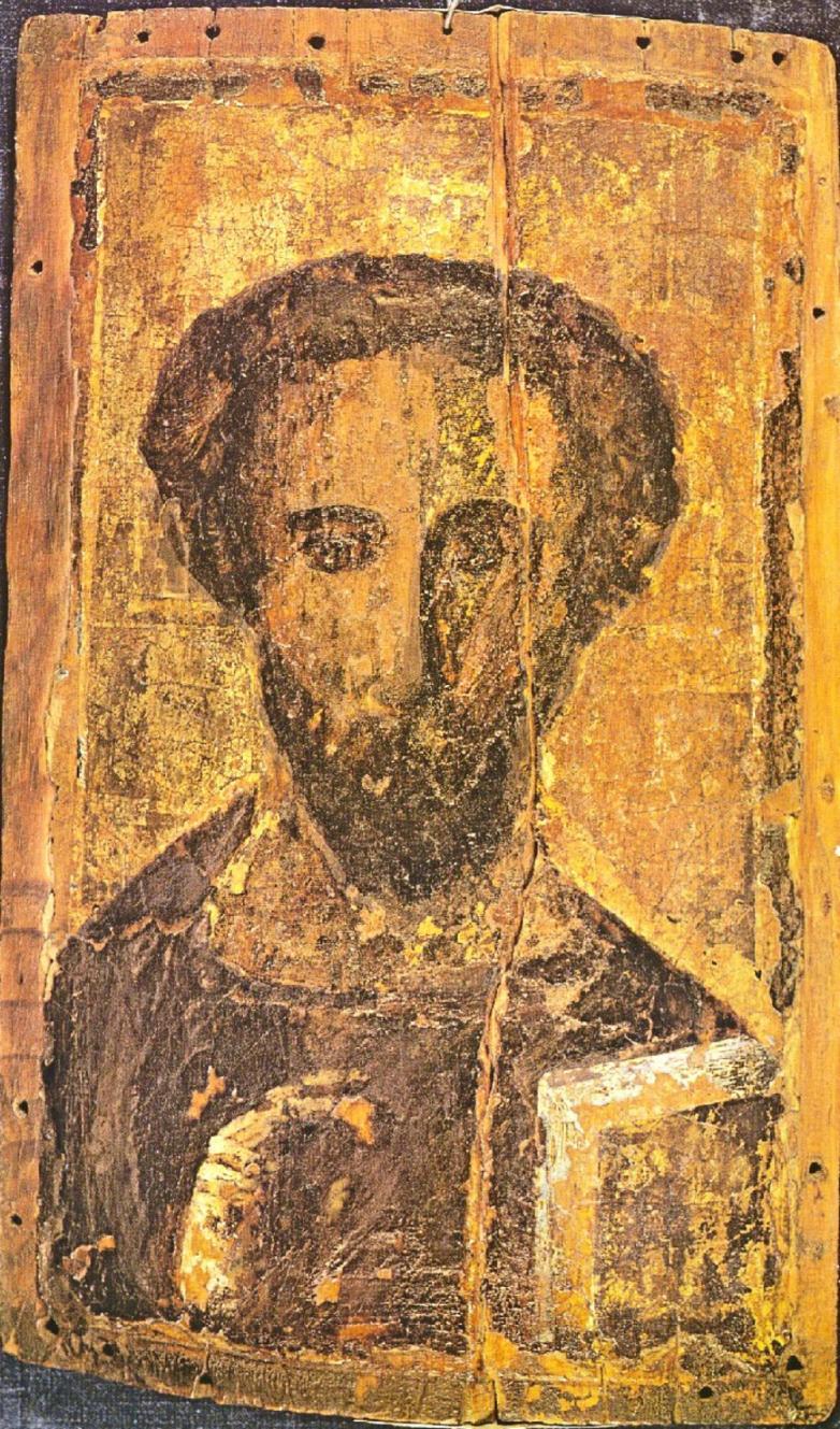 "Christ or ""The Pantocrator"" relic found at Saint Catherine's Monastery on Mount Sinai, Egypt region."
