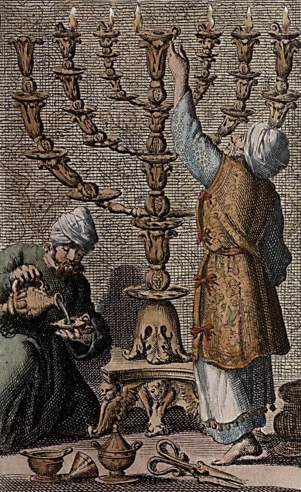 Dutch Artist rendition of the Lighting of The Menorah [ca. 1705]