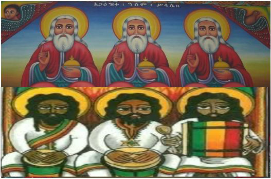 (pictured above-top) Ethiopian painting of the Trinity & (on bottom) Ras Tafari painting that could clearly represent the initiative movement of Ras Tafari's founding.