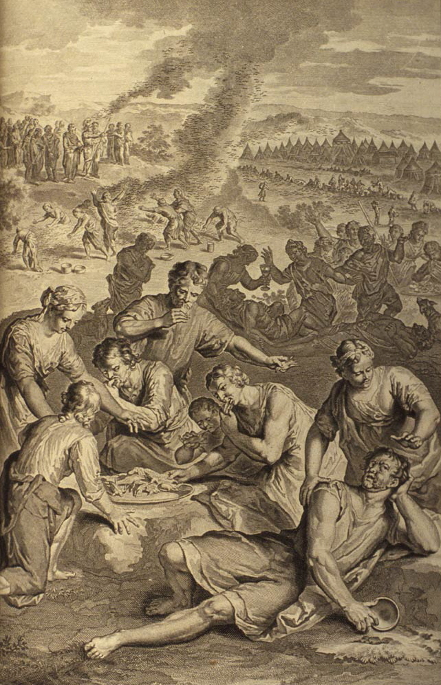 Kibrothhatta'a(w)vah  The Plague that was  Inflicted On Israel While Eating The Quails_(illustration from the 1728' Figures de la Bible)