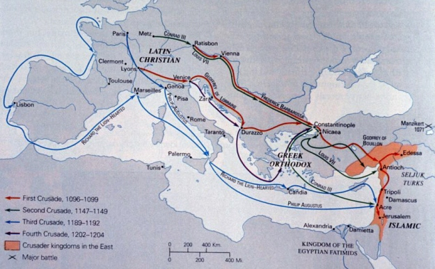 supposed map of the Crusades