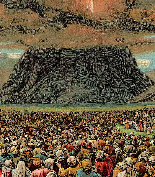 The Ten Commandments (illustration from a Bible card published Atop Mount Sinai_[1907 by the Providence Lithograph Company])