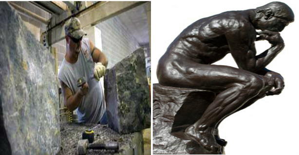 "(L-) ""operative mason""=stone cutter, mason &, (R-) statue of the ""Thinking man""; a work of masonry but symbolizing the the application of a =""speculative mason."""