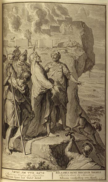 Balaam Blessed Israel at Peor _artwork from Figures de la Bible (1728) by Gerald Hoet & accompanying artists [ca.1648-1733]