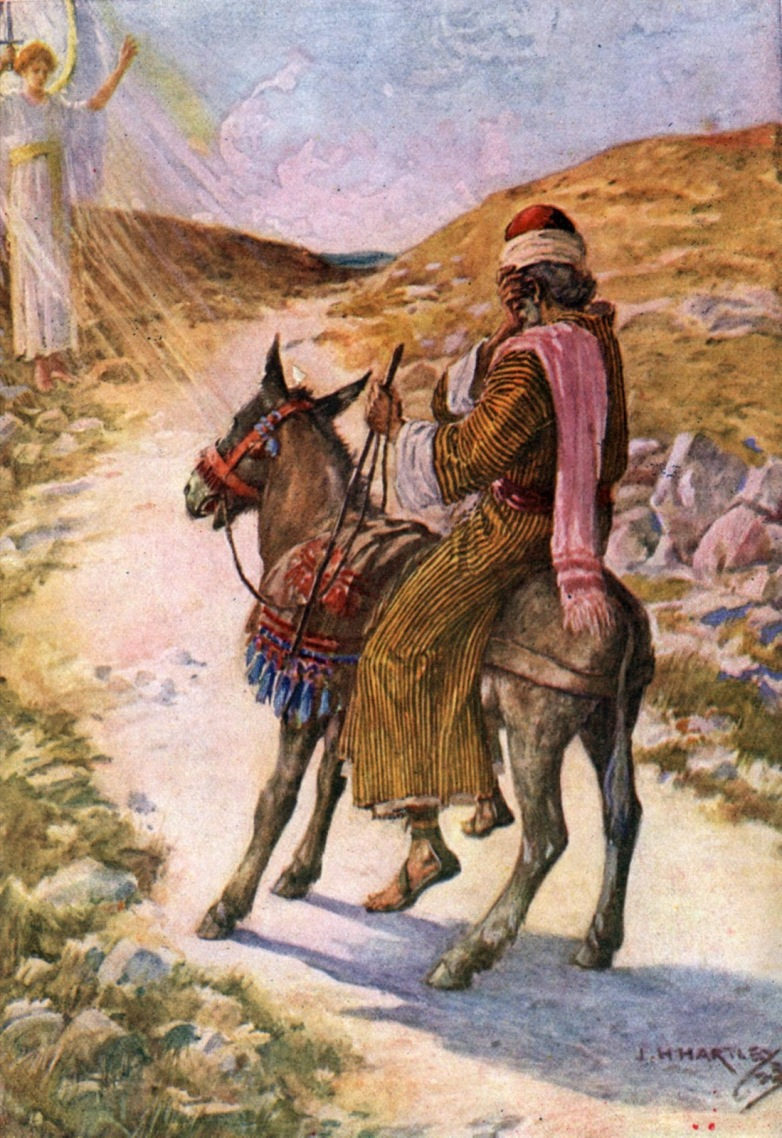 Balaam & his donkey on the men of Moab. [Numb. 22: 21-35]