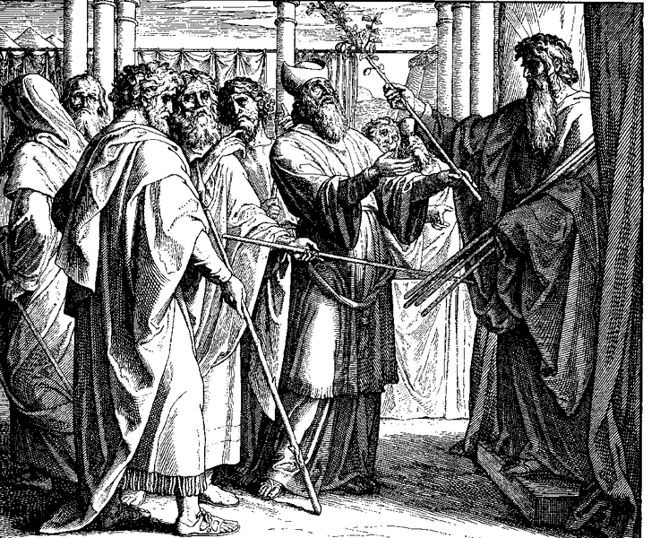 Moses brings forth Aaron's staff.  Budding of Aaron's Staff by Julius Schnorr von Carolsfeld_  From The Bible In Pictures{1860}