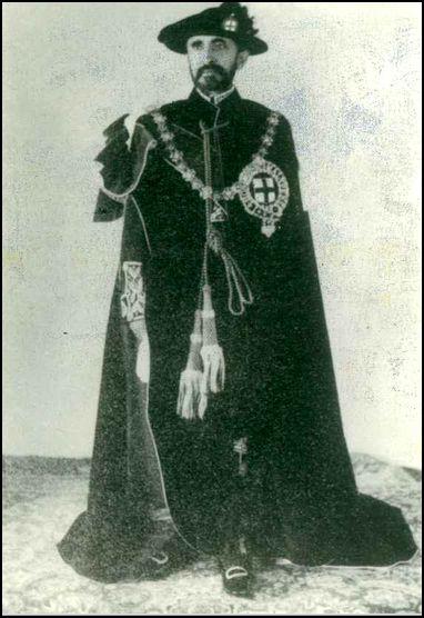 H.I.M. Qedamawi Haile Sellassie I in Knight of the Garter regalia in England