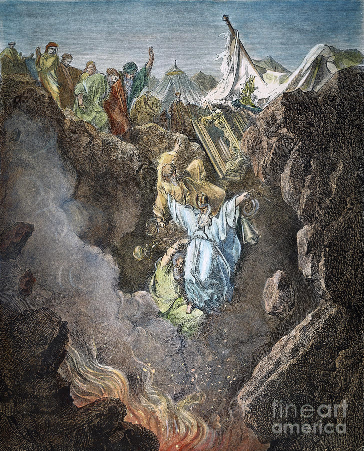 (color based revitalization) Death of Korah, Dathan, & Abiram [Numb. 16: 31-35] revamped-by-fineartamerica-original-by-Granger {original painting done in 19th cent. by Gustave Dore'} link here: http://www.mundellchristianchurch.com/art/images/Num-16-The-Death-of-Korah,-Dathan,-and-Abiram.jpg