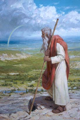 Moses see the land given to the children of Israel, atop Mount Abarim.