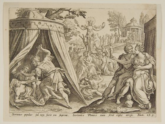 """""""[a depiction]"""" Phineas, slaying the man of Israel, for his treachery, & the woman for her  corruption. [Numb. 25: 7 & 8]--for whole context[read Numbers Chpt. 25in entirety]"""