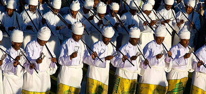 The Majority of Ethiopian memorial and holy-days are celebrated with men and women carrying staff.