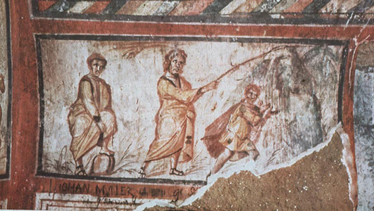 Water From The Rock _wall painting of Moses in a Roman Catacomb dating to the 4th century AD.
