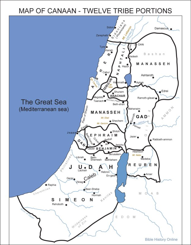 The Allotted Land of Canaan; with suggested dwellings of the Twelve Tribes of Israel's portions