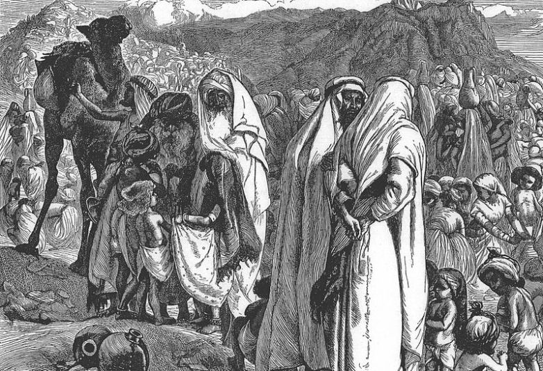 The children of the tribes of Gad & Reuben speak with Moses, on issues of Land _ painting by Aurthur Boyd Houghton