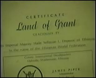 Screenshot Portion of the Certificate of the Shashamane Land Grant's first recipients James Piper & his wife.(who's name escapes I&I, at this time, unfirtunately...)