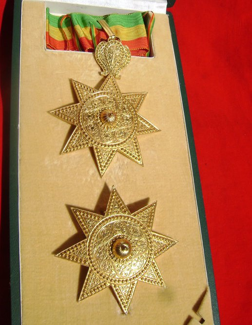 Order of the Star of  Ethiopia, awarded to bredrin Jim Marshall, by H.I.H. Prince Ermias Sahle-Selassie Haile Selassie for service in preserving historical items of Imperial Ethiopia.