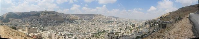 On L, Mt.Gerizim (Blessing) and on R, Mt.Ebal (Curse) - Nablus Panorama in Israel.
