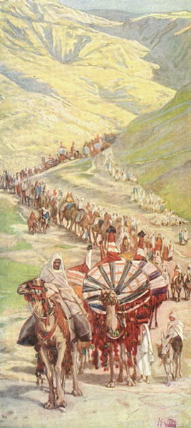 Abram's caravan leaving Egypt _ painting by James Tissot (1890's circa)