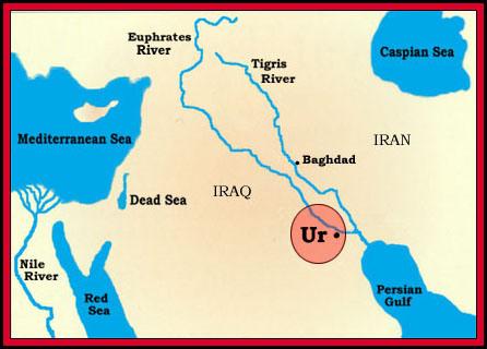 Ur(Chaldea), near the Euphrates & Tigiris rivers.
