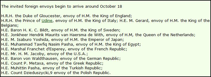 Foreign Dignitaries present at the Coronation of H.I.M.