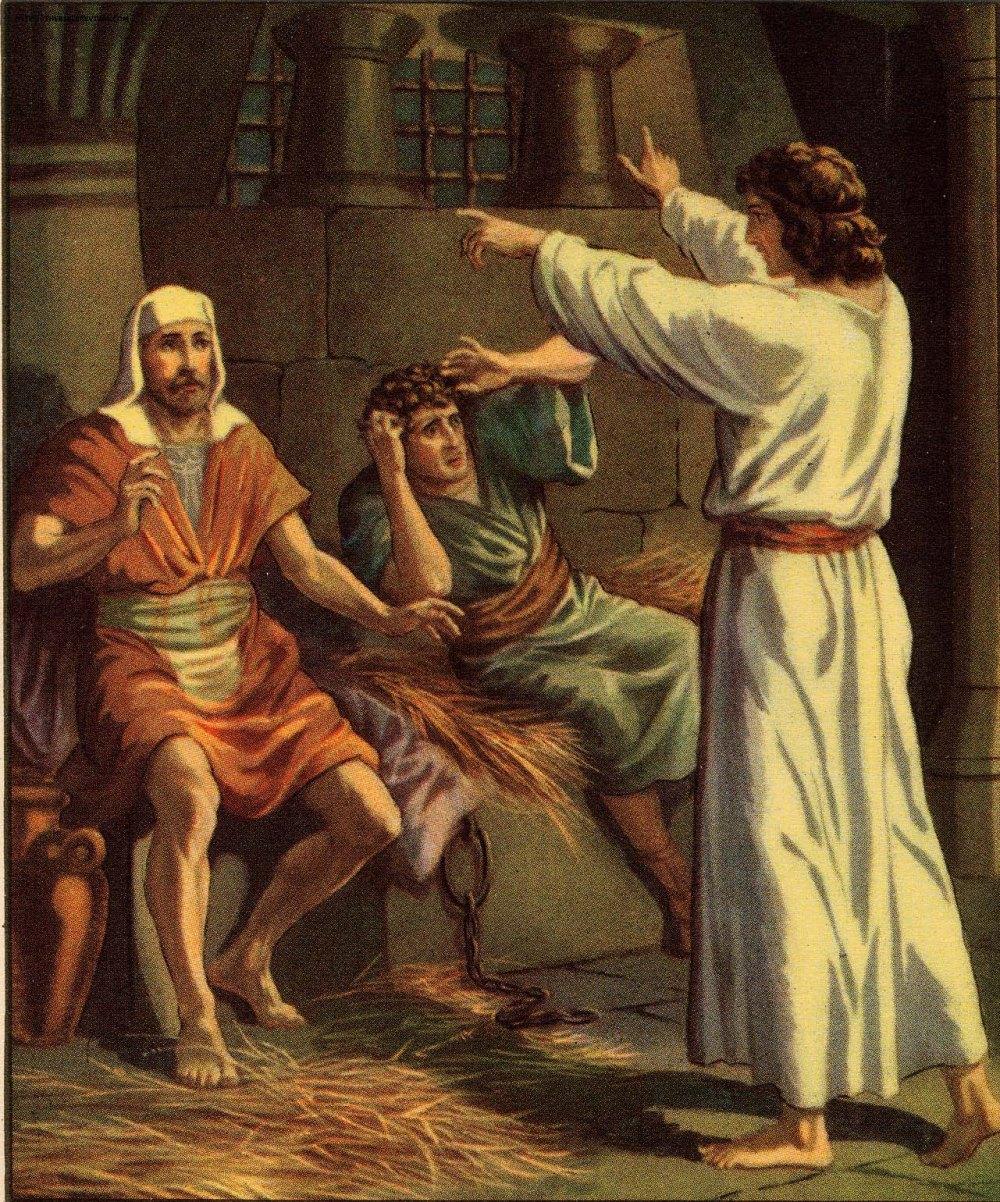 Joseph interprets the dreams of fellow prisoners; the chief butler & the baker