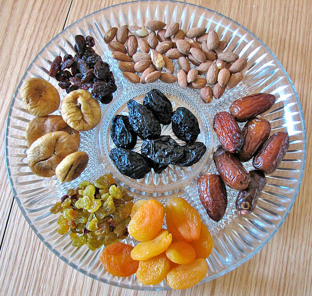 modern chasidic Tu B'Shebat plate: dried fruit, almonds,.....