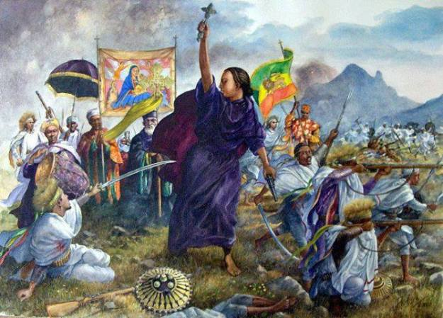 contemporary artwork displaying the courageous acts of Empress Taitu Betul; wife of Emperor Menelik II & Ethiopian Empress.
