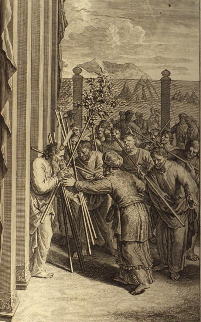Aaron's Rod Budding (illustration from the 1728 Figures de la Bible)