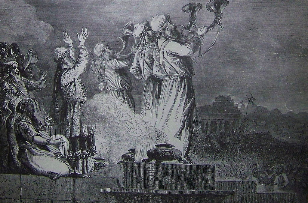 The silver trumpets & the Shofar. [Holman bible Illustrations 1890- blowing the trumpet at the feast of the new moon]