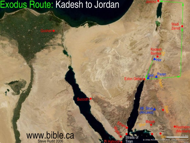 chukat - parsha [maps-bible-archeology-exodus-route-overview-kadesh-barnea-jordan] bible.ca
