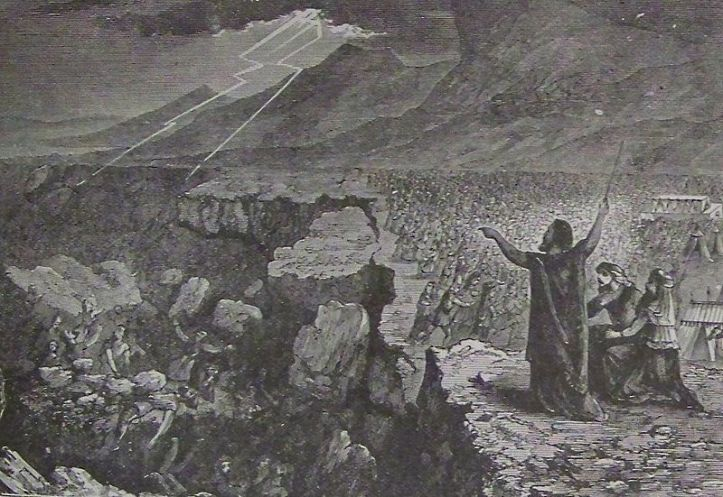 Korah and the rebellion swallowed by the earth - Holman Bible illustration (1890)