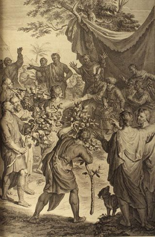 The Spies Showing the Fertility of Canaan _ painting by Gerald Hoet (1728 Figures de la Bible)