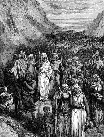 Wandering in the wilderness, those of Israel that wouldn't enter into the Promised Land.