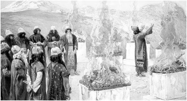 "the Seven Altars _ painting by James J. Tissot [Numb. 23: 1-12] ""Whom Jah bless, no man curse"" _{Ras Tafari proverb}"