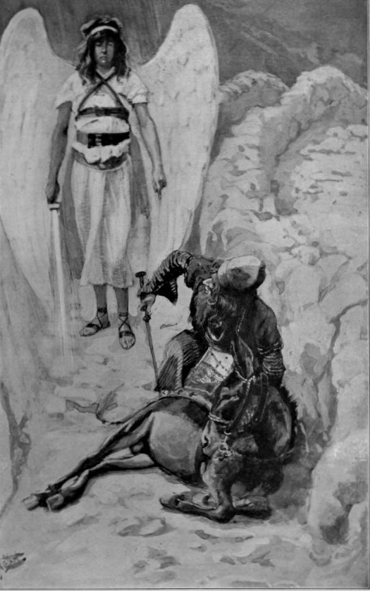 painting by James J. Tissot _ Balaam is met by the Angel on the road _ [Numb. 22: 21-35]