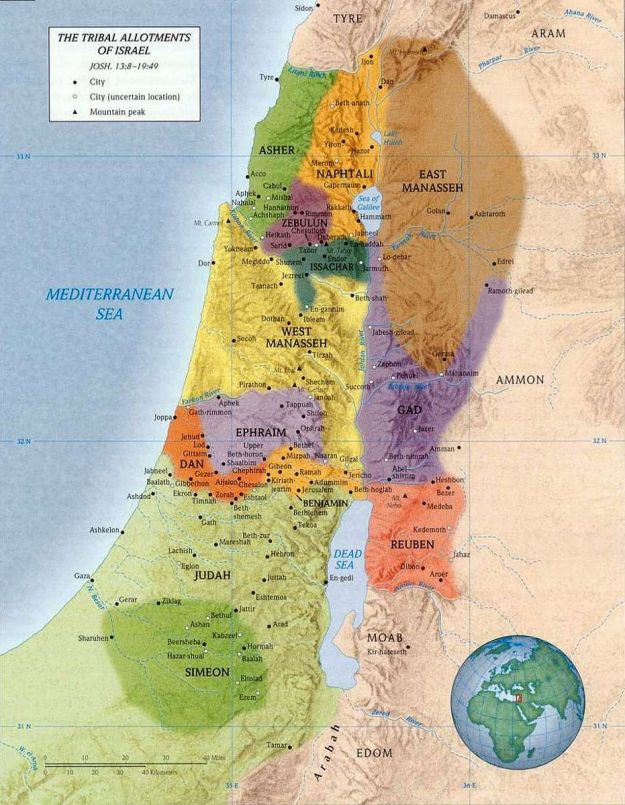 Twelve Tribes of Israel; Land of Canaan, divided inheritance for the Tribes of Israel.