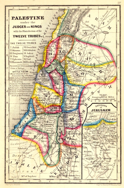 book of judges-n-book of kings biblical map of palestine(canaan) [gilai.com]