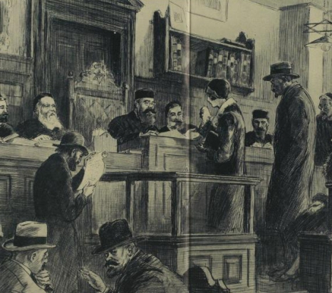 "An Image of a London Beth-Din with Rabbi J.H. Hertz(center) _ London's Beth-Din as it functioned in the year of 1926. This artwork is titled ""The World's Oldest Tribunal"" dating From Moses(mirroring the Ancient Hebraic court System). The Beth-Din or Court of the Chief Rabbi."
