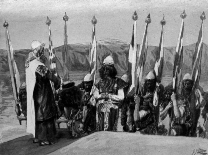 Moses charges Joshua to Lead Israel into Canaan [Deut. 3: 28] _ painting by James J. Tissot