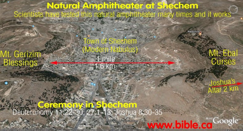 ki tab(v)o - bible-archeology-altar-of-joshua-amphitheater-between-mt-gerizim-ebal
