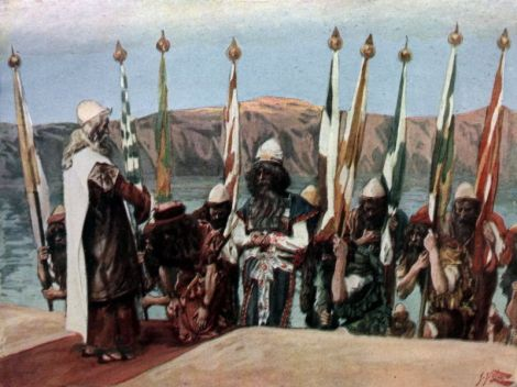 Moses Charges Joshua to Lead Israel Over Jordan _ painting by James J. Tissot