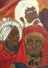 The Three Faces of Moses _ [painting done by Yitzchak Yehudah (1969)]